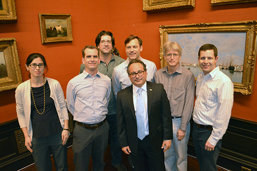 Faculty from Chemical and Biological Engineering congratulate Dr. Palmese.