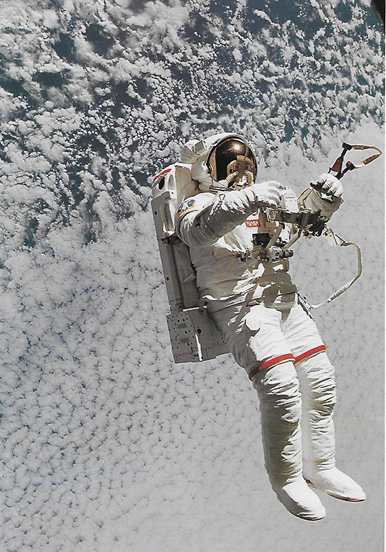An astronaut testing a space suit