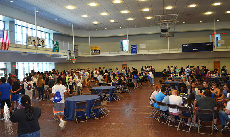 Students at welcome party in rec center