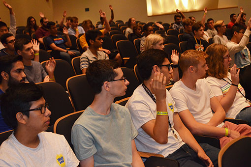 New students meet in Mitchell Auditorium.