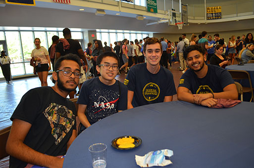 New students enjoy the welcome party.