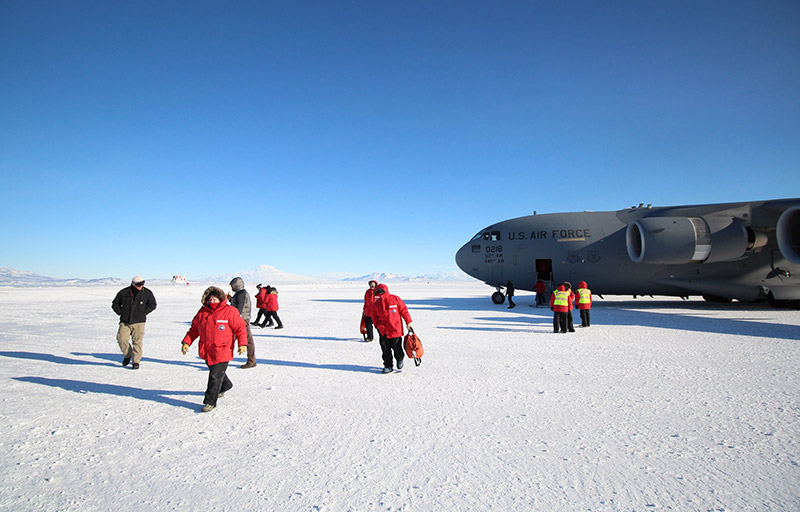 Research scientists landing in Antarctica
