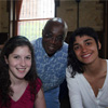 Dr. Abioseh Porter, English and Philosophy Department Head, with students Alyssa and Manna