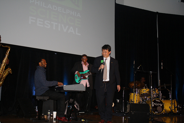 """Youngmoo Kim sings with jazz ensemble as part of the science of music event"""