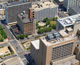 aerial view of center city campus