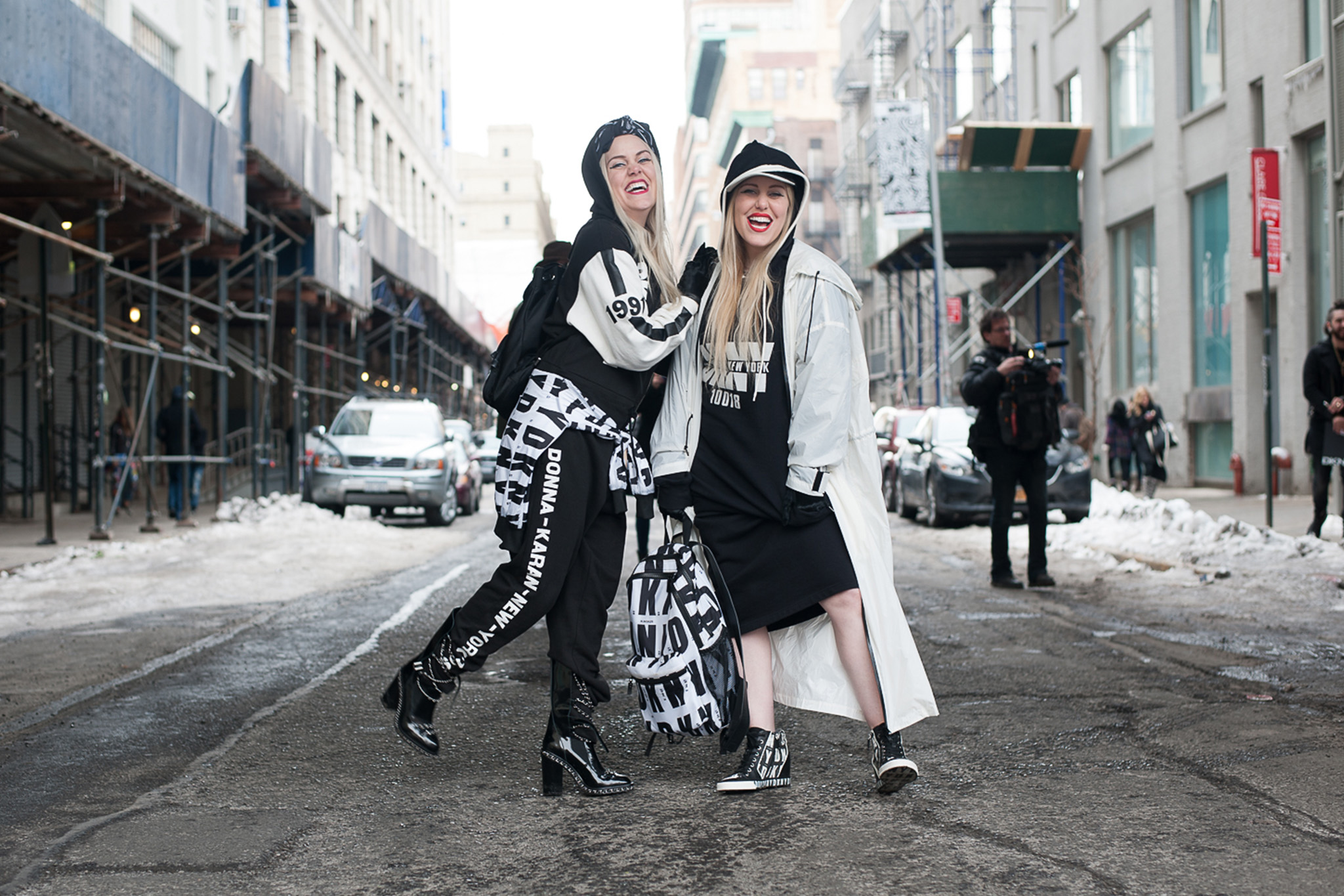 Two women in New York in winter