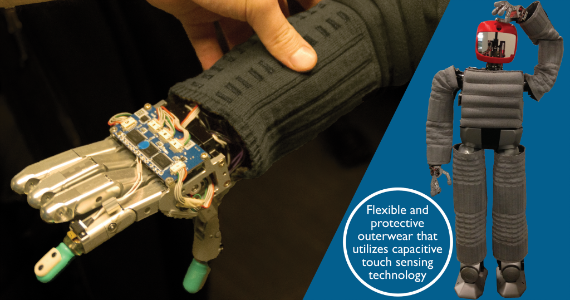 Flexible and protective outerwear that utilizes capcitive touch sensing technology