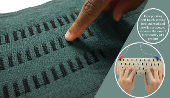 The Capacitive Touch Sensor is a gesture sensitive functional textile touch-pad interface for physical devices