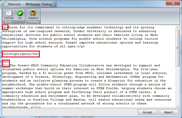 html cleanup sitecore cms support drexel university