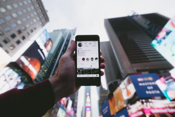 iphone in Times Square