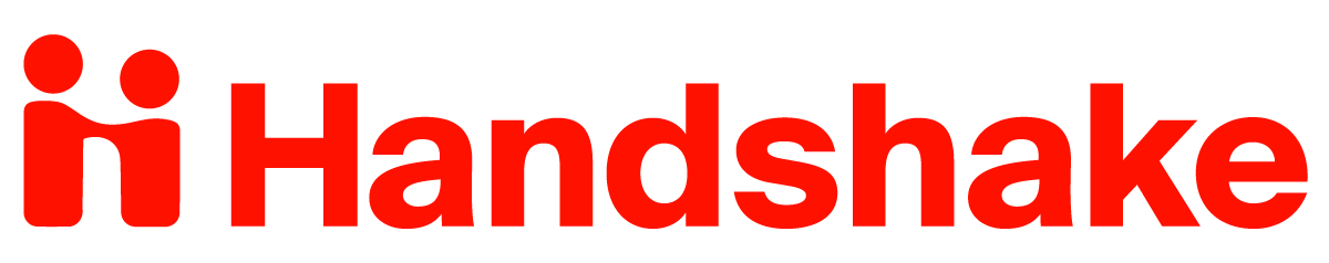 Logo of two people shaking hands with the word 'handshake'