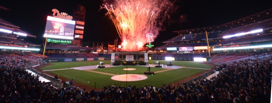 view of commencement fireworks at citizens bank ballpark
