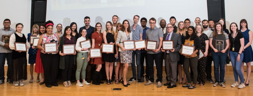 Graduate Student Day 2019 awardees on stage