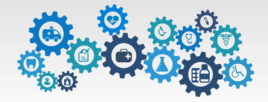 interconnected gears with health icons