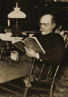 A.J. Drexel reading a book