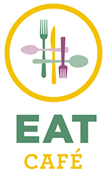 EAT Cafe logo with forks and spoons