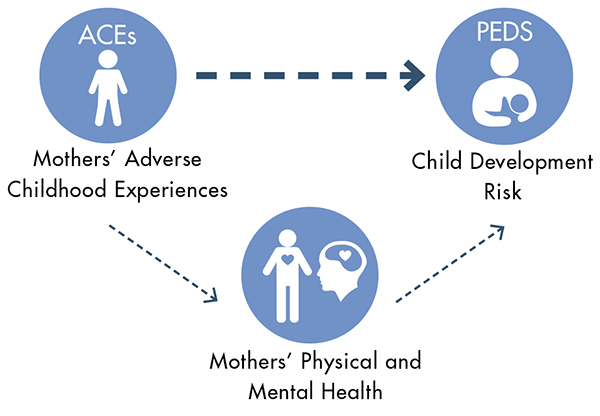 Graphic displaying Mother's Adverse Childhood Experiences (ACEs) connection with Mother's Physical and Mental Health and both impacting Child Development Risk