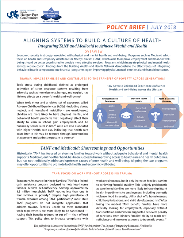 Report Cover - Aligning Systems to Building a Culture of Health