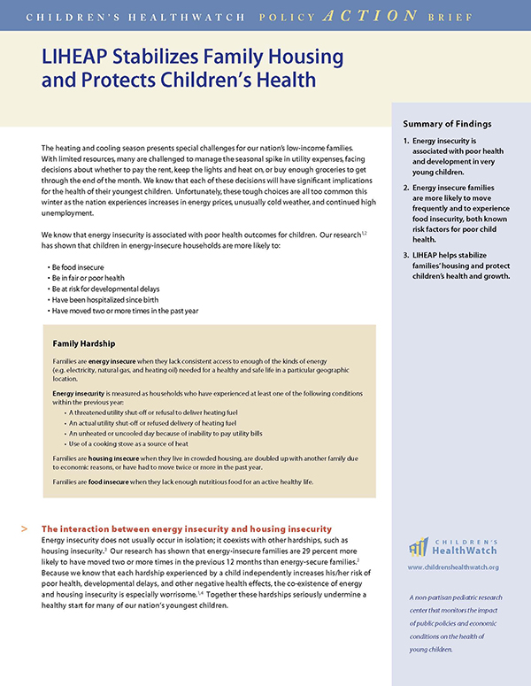 Report Cover - LIHEAP Stabilizes Family Housing and Protects Children's Health