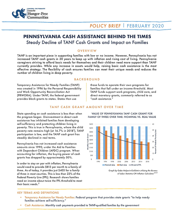 Report Cover - Pennsylvania Cash Assistance Behind the Times