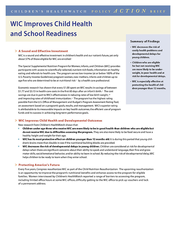 Report Cover - WIC Improves Child Health and School Readiness