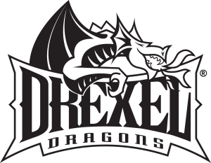 Drexel Dragons primary logotype black and white