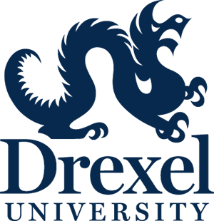 Drexel University Vertical Logo HEX blue
