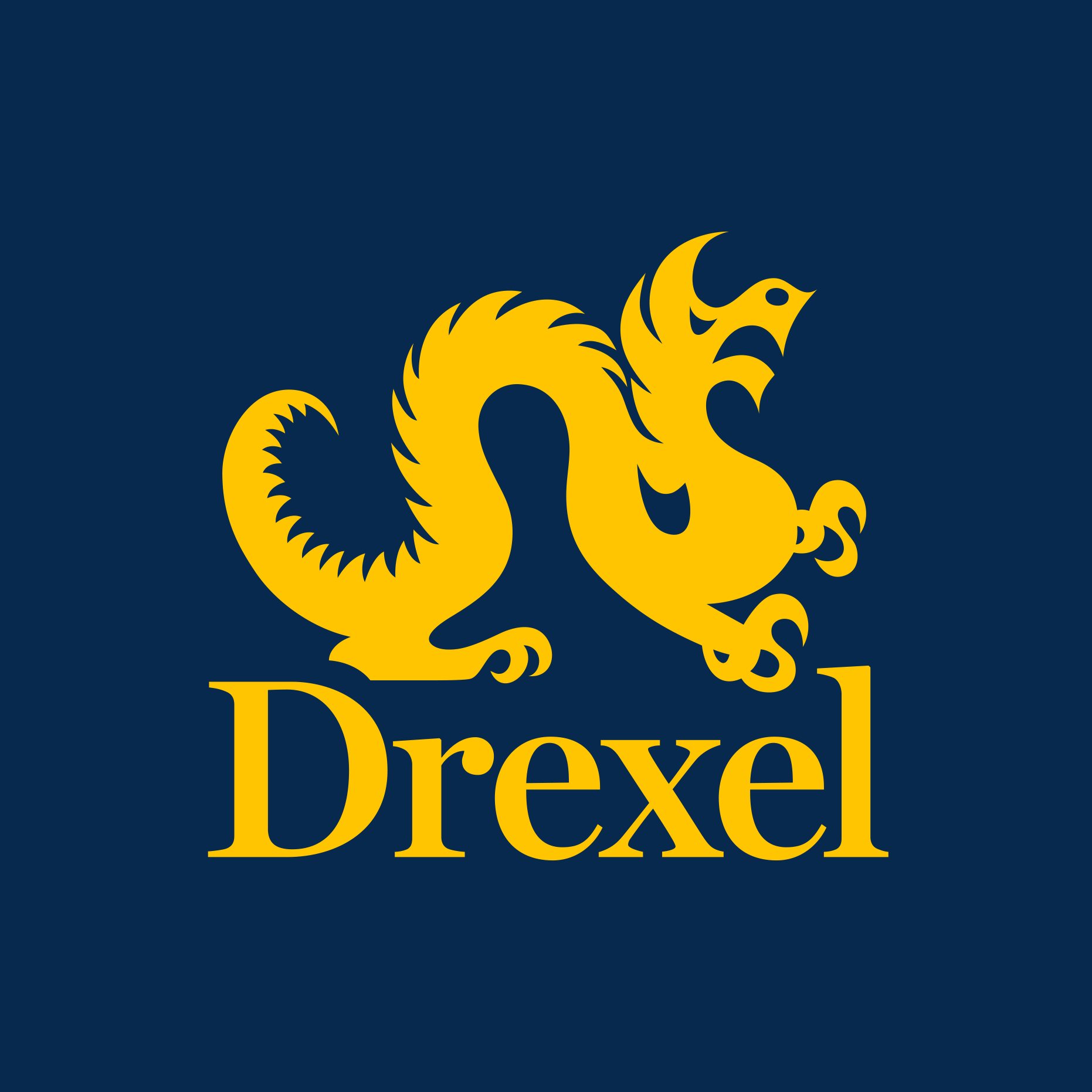 Drexel logo for twitter - blue background