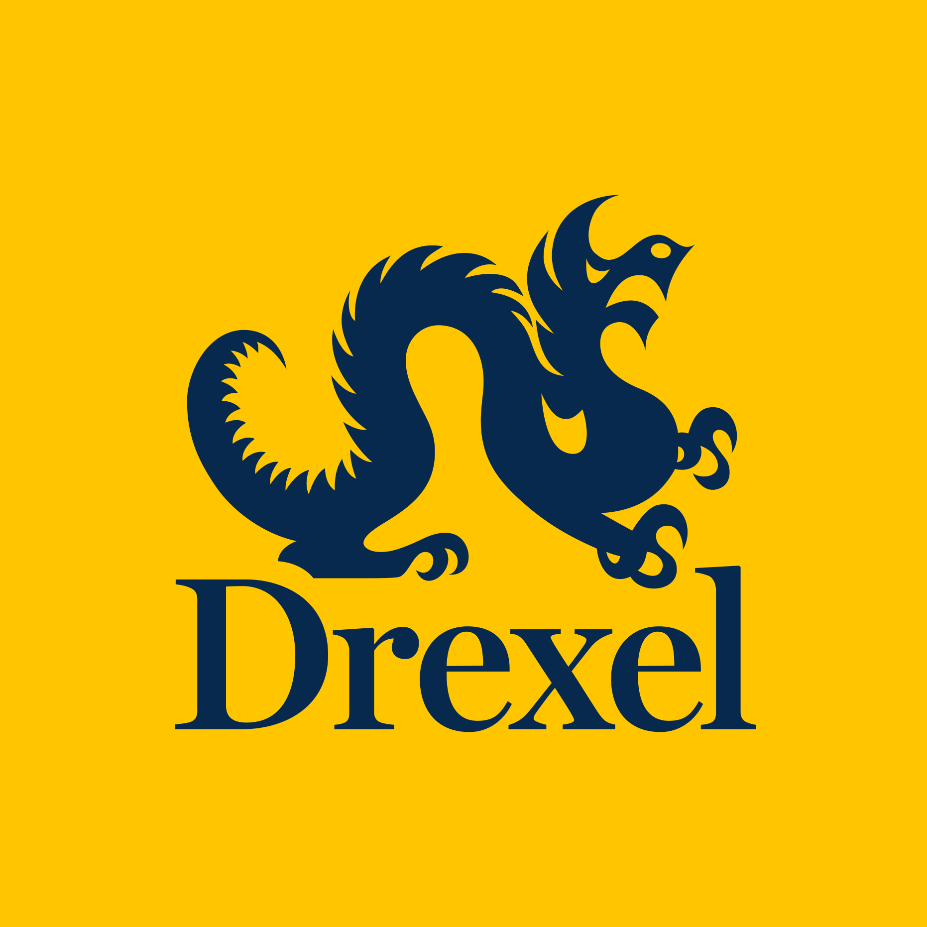Drexel logo for twitter - yellow background