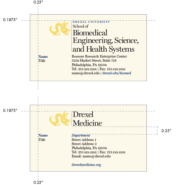 colleges schools stationery ideny drexel university business cards with 2 names upmarket