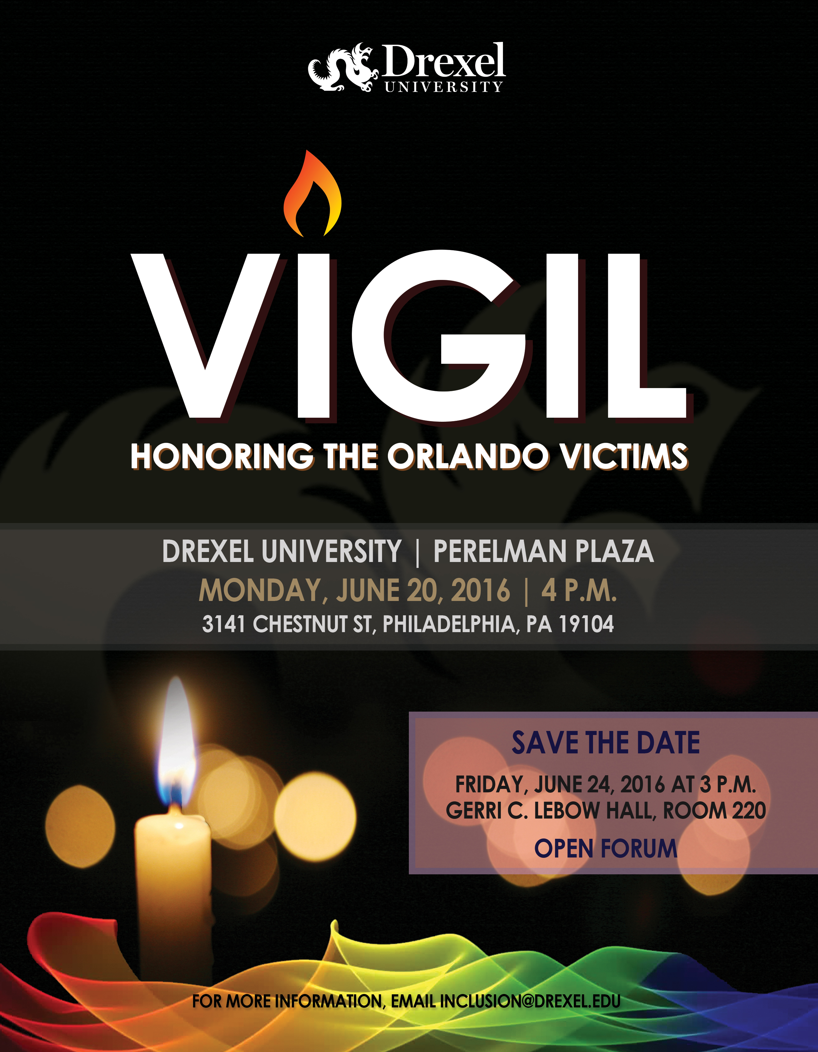 Flyer for a vigil for the orlando victims.