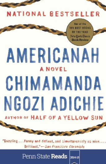 Image of the book cover for 'Americanah' a novel by Chimamanda Ngozi Adiche