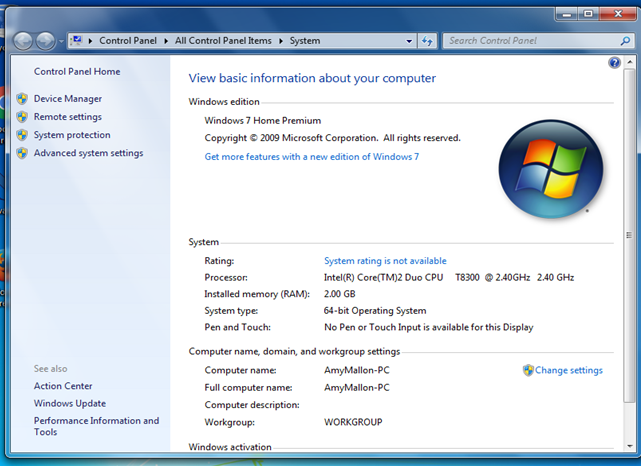 Windows 7 OS Version screenshot 2