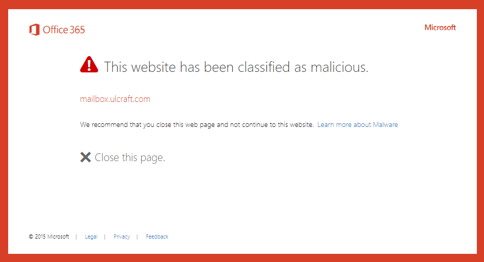 Sample of message showing that an unsafe link was blocked.