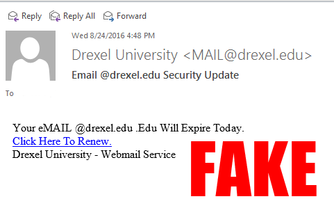 Email @Drexel.edu Security Update - FAKE