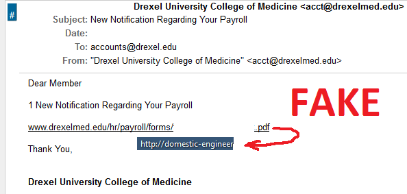 debunking email scams information technology drexel university