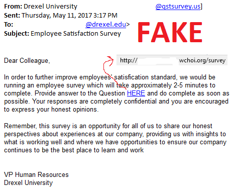 Survey Phishing Scam