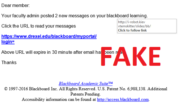 Blackboard Scam Message