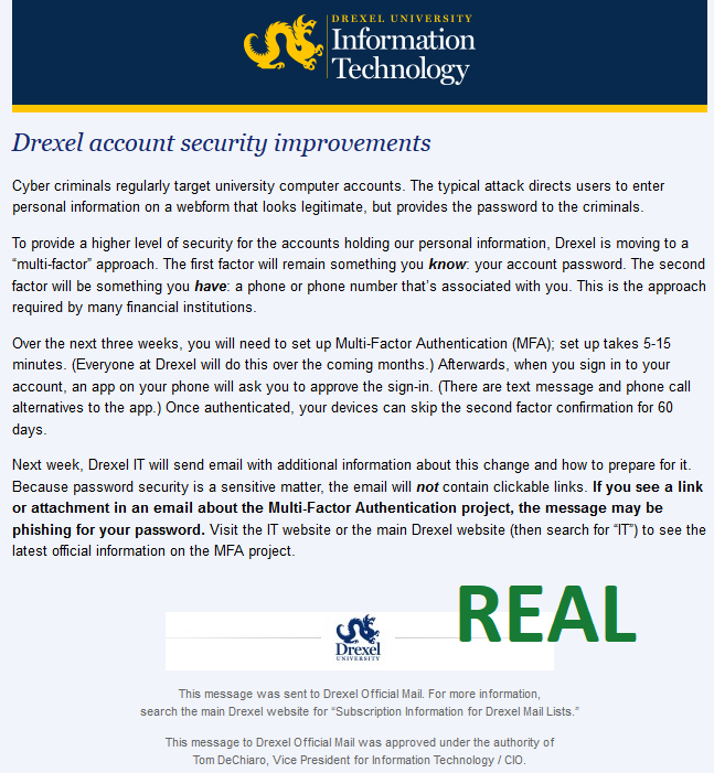 Real Email from Drexel IT: Multi-Factor Authentication Coming Soon