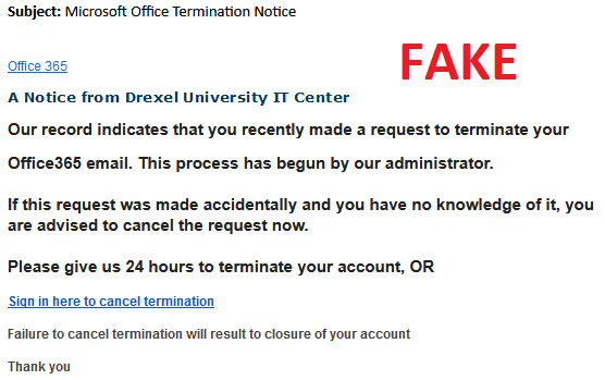 Debunking Email Scams | Information Technology | Drexel University