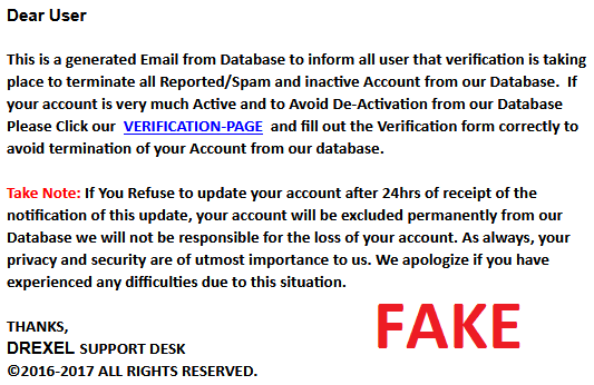 Verify Account Scam Email