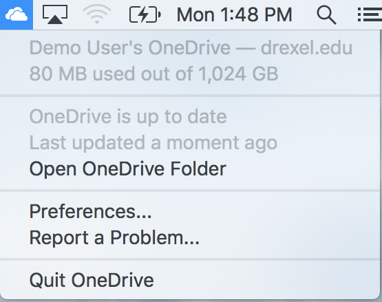 Mac OneDrive System Tray