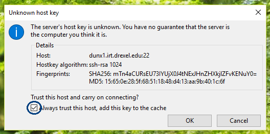 Check the box to 'Always trust this host,' then click 'OK.'