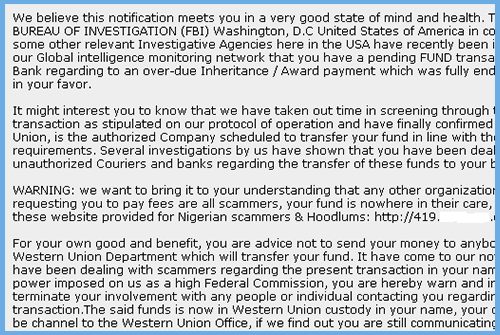 FBI Funds Email Scam