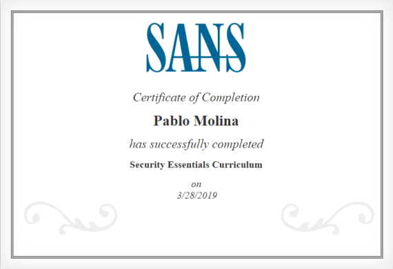 SANS Certificate Example