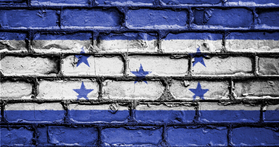 Honduras flag painted in bricks