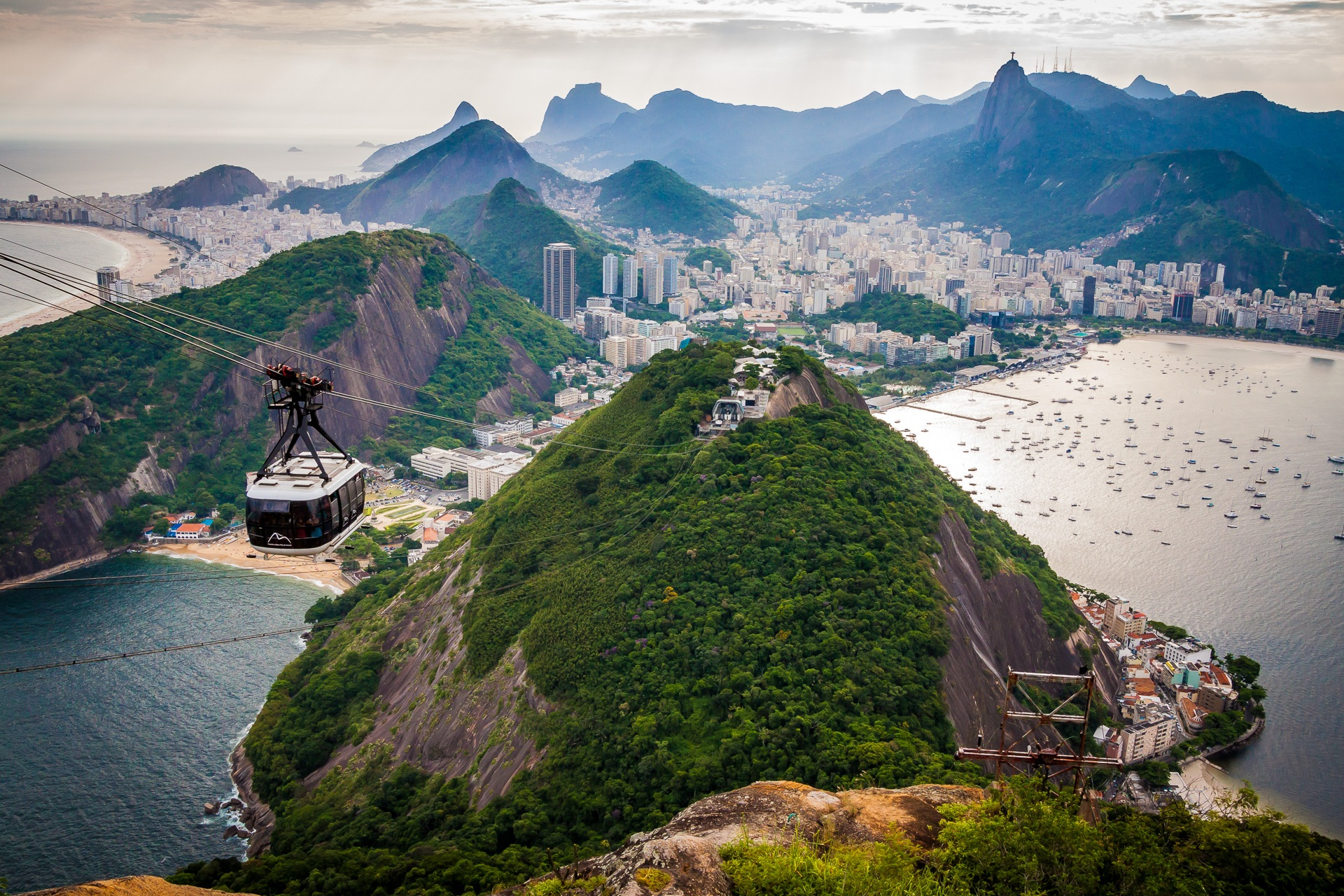 Photo of cable car over mountain in Rio de Janeiro, Brazil