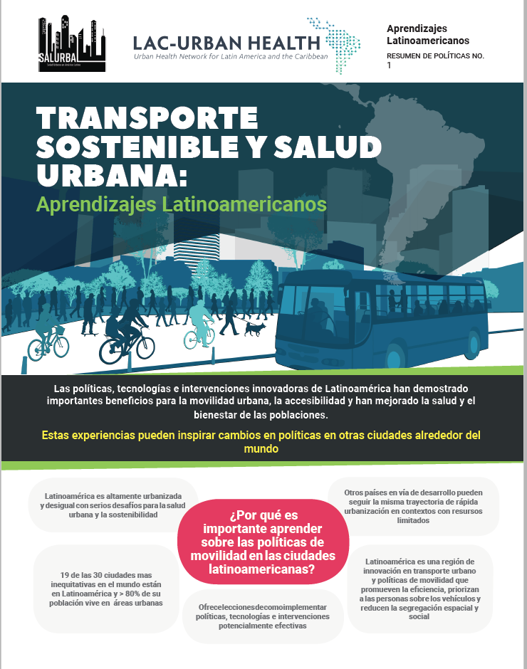 Photo of the cover page of the sustainable transport policy brief