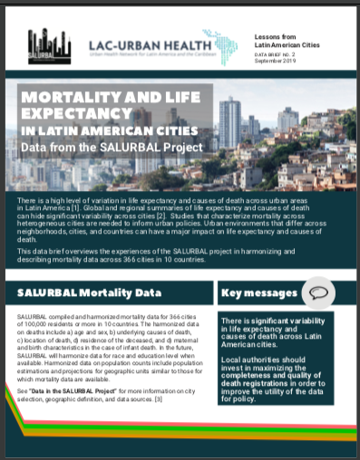 Cover page of the SALURBAL mortality and life expectancy data brief