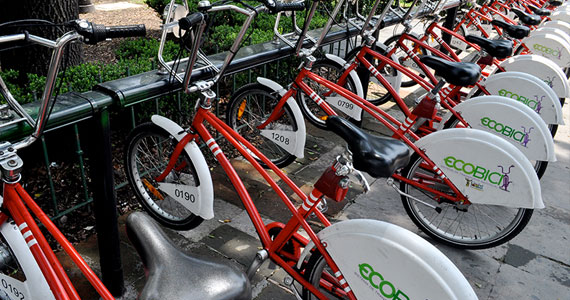 Image of bike share bicycles in Mexico City